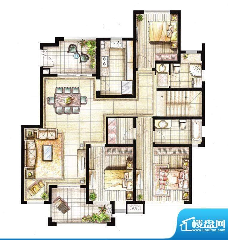 红鼎湾花园2-5号楼多面积:153.00平米