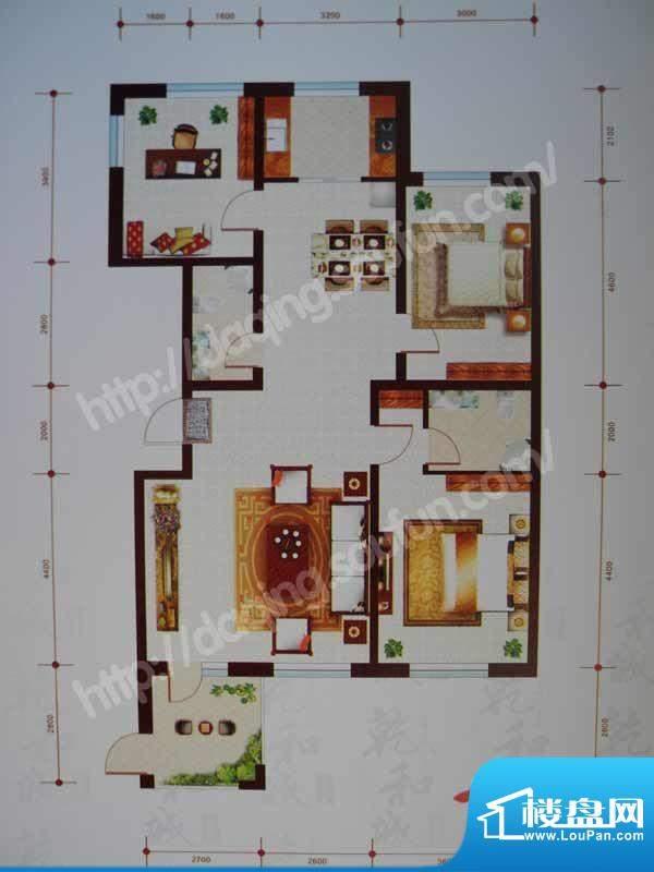 乾和城A2户型 3室2厅面积:132.68m平米