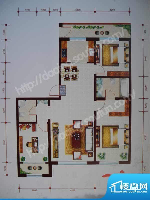 乾和城B2户型 3室2厅面积:127.05m平米