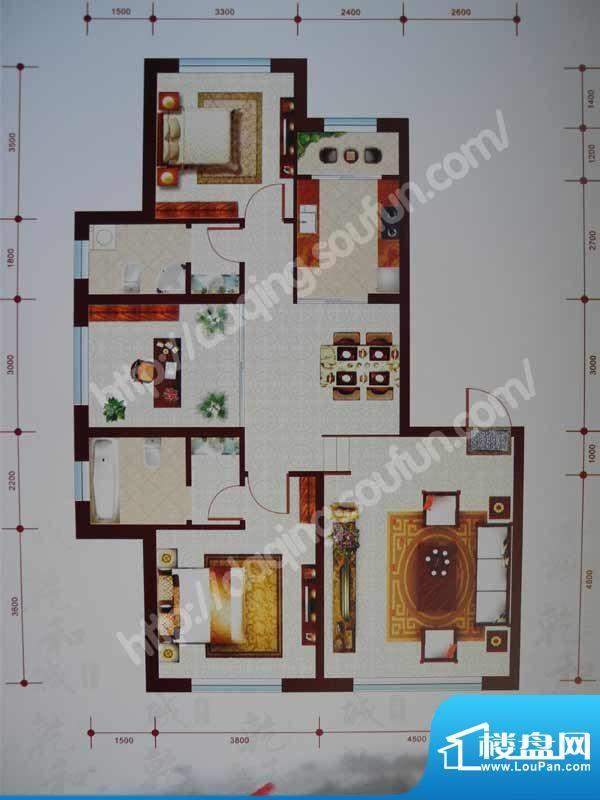 乾和城C1户型 3室2厅面积:134.99m平米