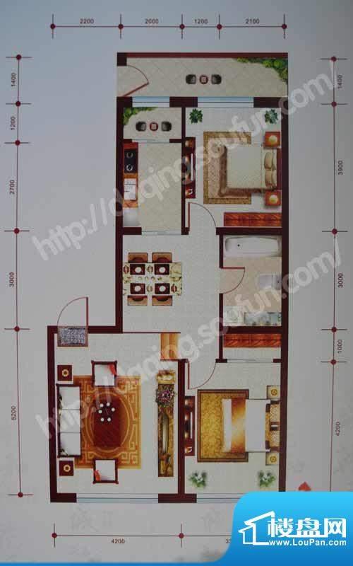 乾和城C2户型 2室2厅面积:96.79m平米