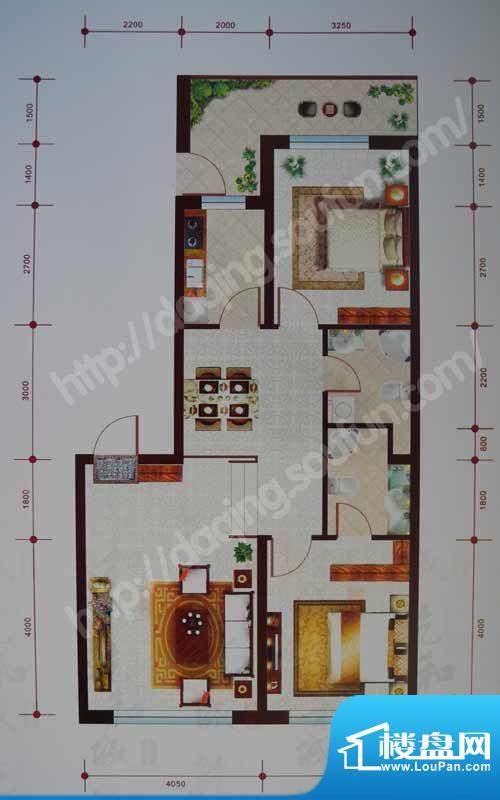 乾和城D1户型 2室2厅面积:98.33m平米