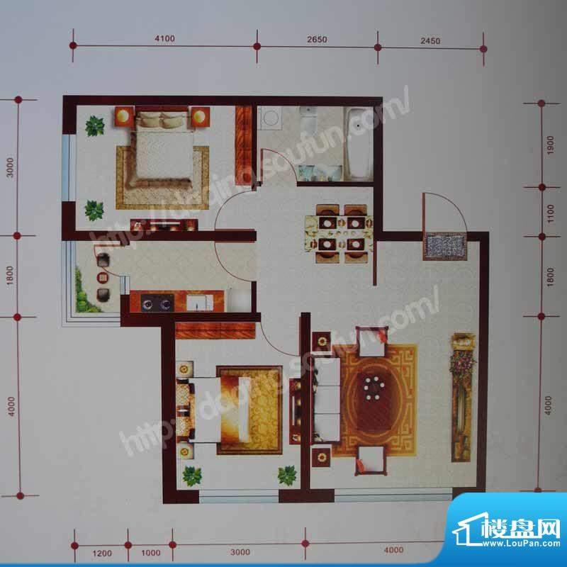 乾和城D2户型 2室2厅面积:79.50m平米
