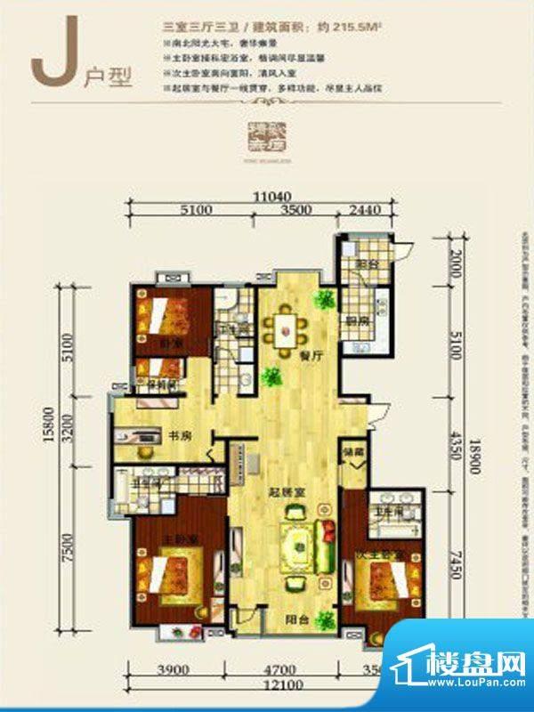 凯德世家户型图 j户面积:215.50m平米