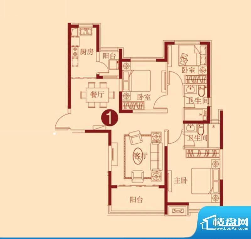 恒大绿洲2号楼一单元面积:125.38m平米