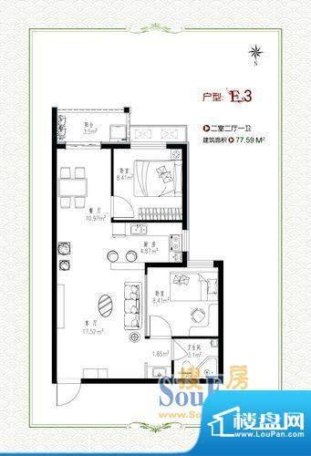 泰和福地水岸9号楼e面积:77.59m平米