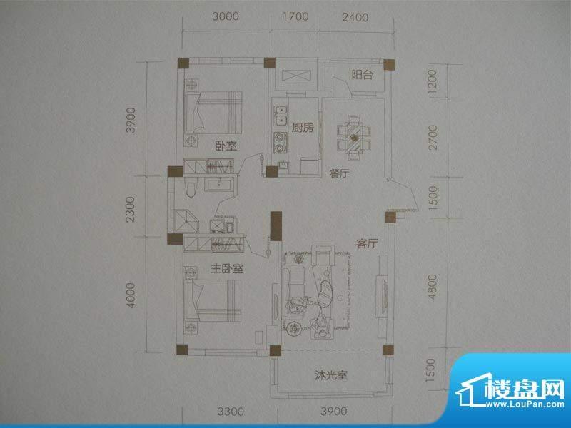 经纬壹号E户型 2室2面积:95.00m平米