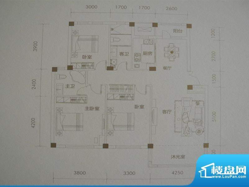 经纬壹号D户型 3室2面积:131.50m平米