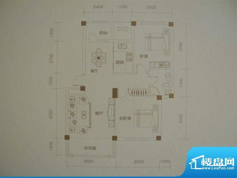经纬壹号C户型 2室2面积:90.50m平米