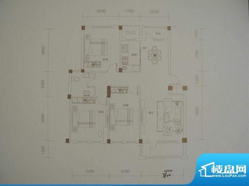 经纬壹号B户型 3室2面积:112.00m平米