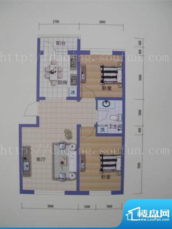 阳光嘉城三期A户型图面积:75.00m平米