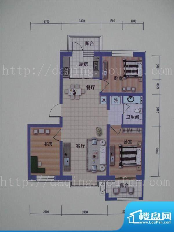 阳光嘉城三期B1户型面积:84.00m平米