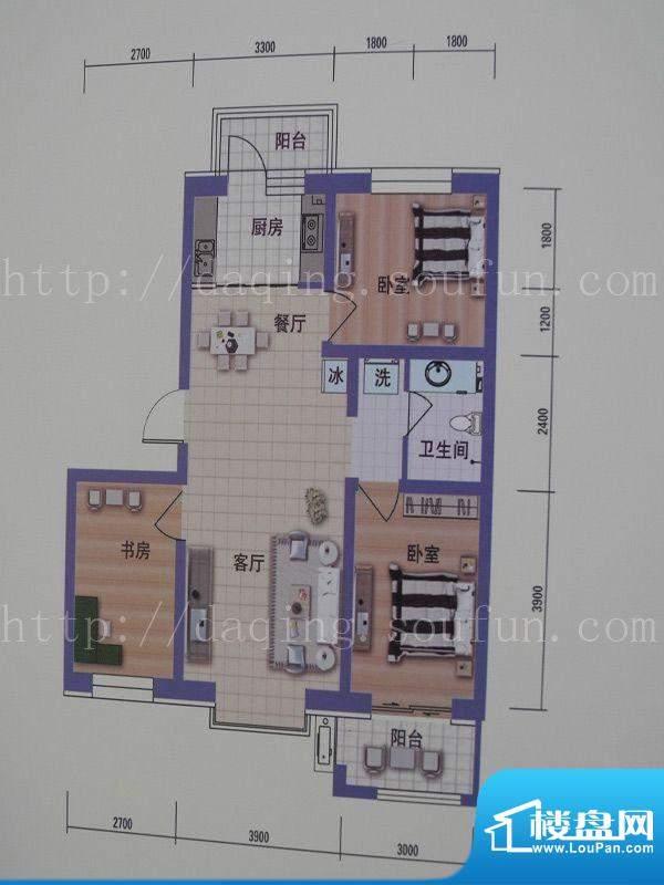 阳光嘉城三期B2户型面积:96.00m平米