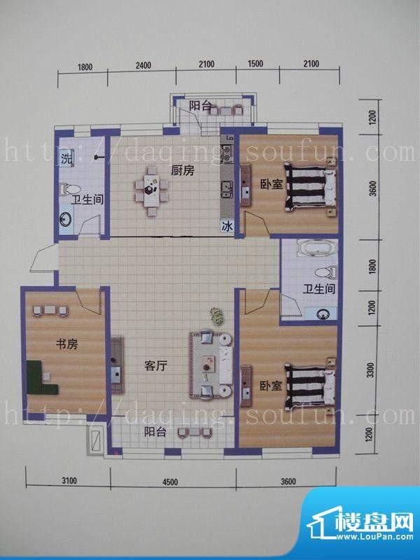 阳光嘉城三期D户型图面积:128.00m平米