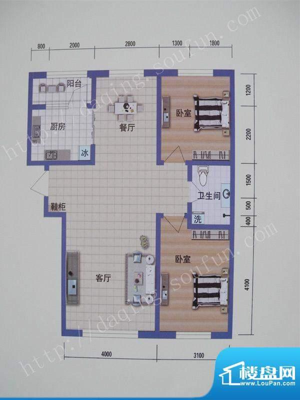 阳光嘉城三期E2户型面积:94.00m平米