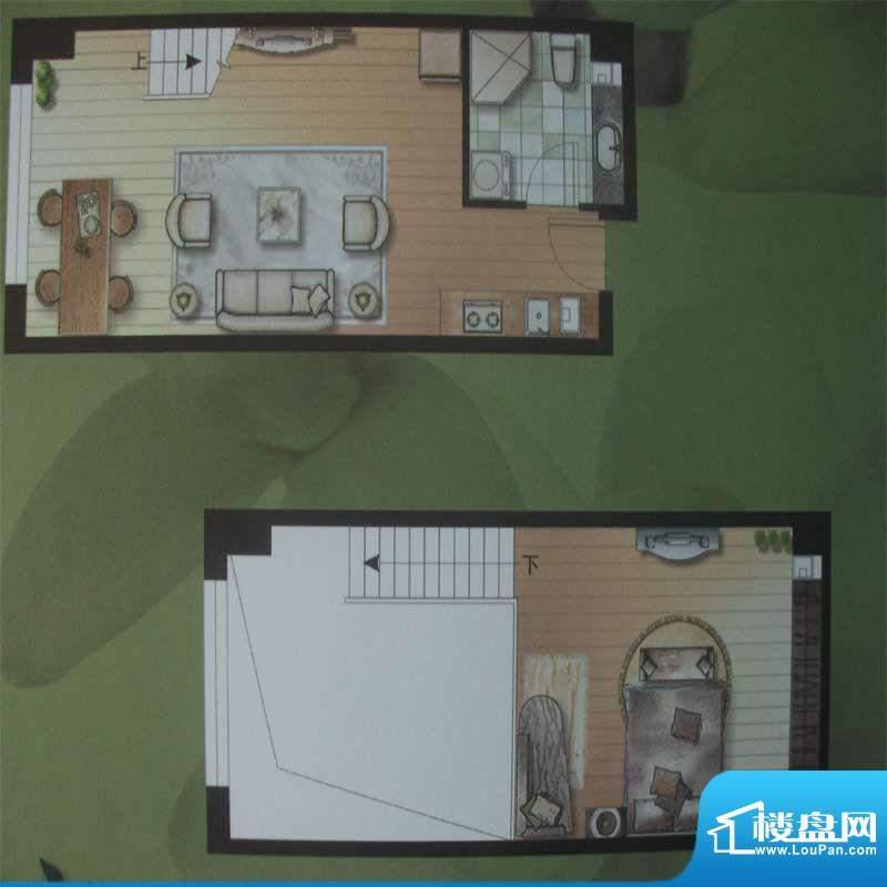 水木华庭E户型 1室1面积:40.00m平米