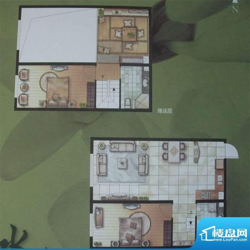 水木华庭D户型 2室2面积:80.00m平米