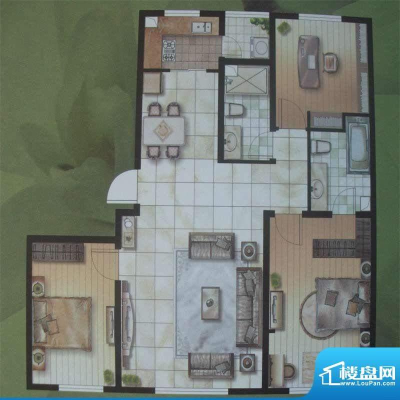 水木华庭B户型 2室2面积:80.00m平米