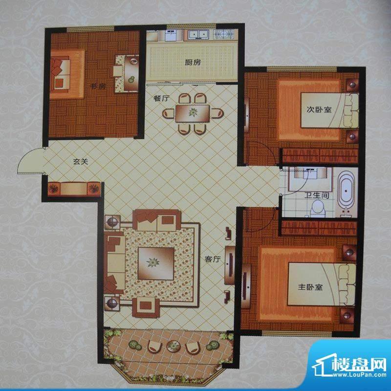 英伦三岛C 3室2厅1卫面积:127.75m平米