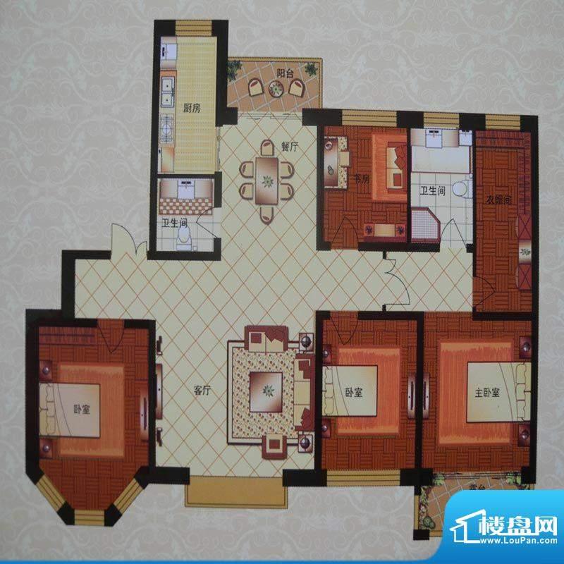 英伦三岛洋房 4室2厅面积:192.47m平米