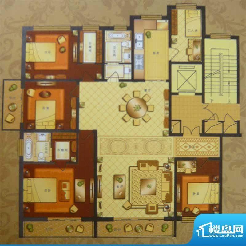 英伦三岛高层 4室2厅面积:228.29m平米