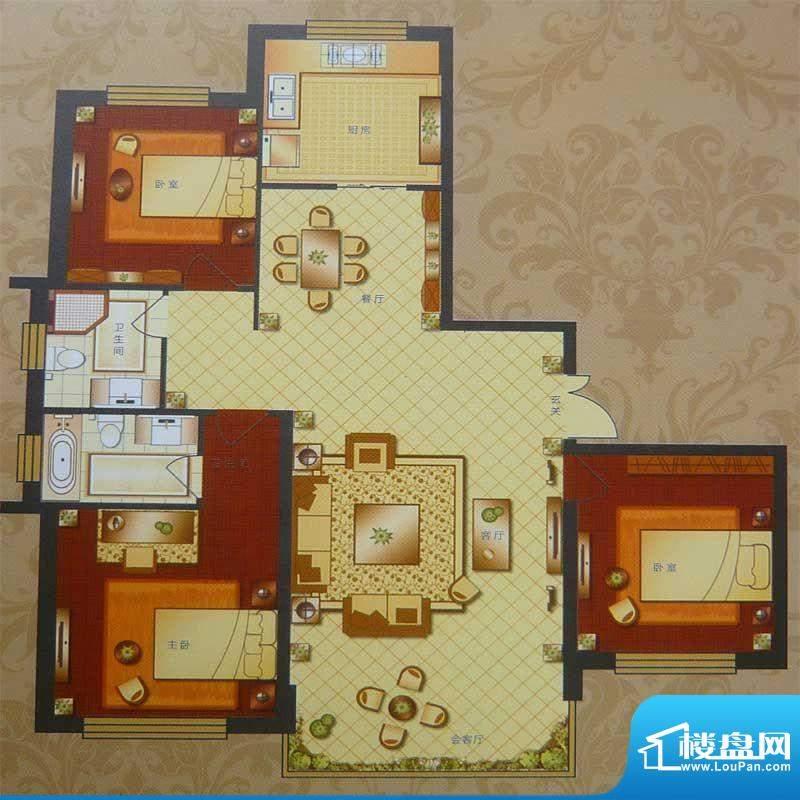 英伦三岛高层 3室2厅面积:160.52m平米