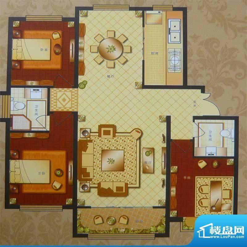 英伦三岛高层 3室2厅面积:147.13m平米