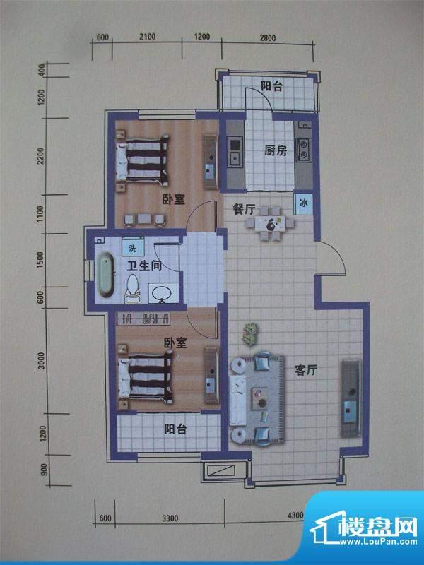 阳光嘉城二期H1户型面积:89.00m平米