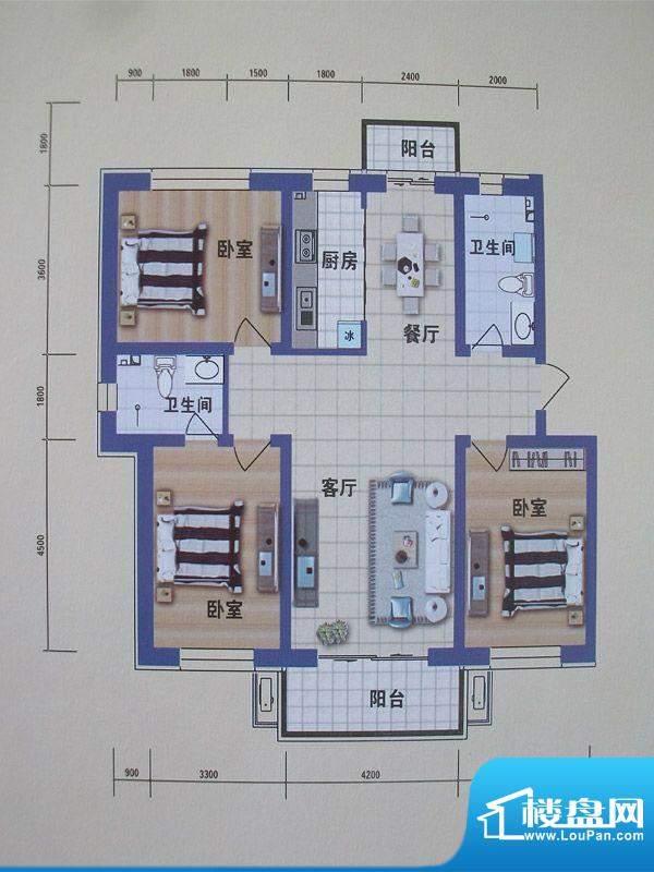 阳光嘉城二期G1户型面积:128.00m平米