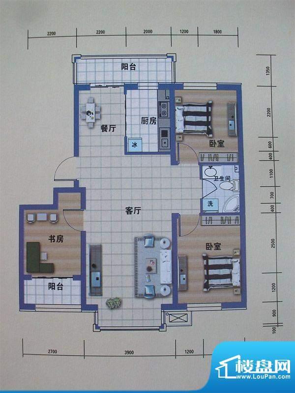阳光嘉城二期F户型图面积:106.00m平米