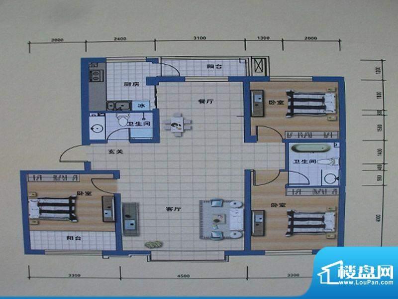 阳光嘉城二期E户型图面积:130.00m平米