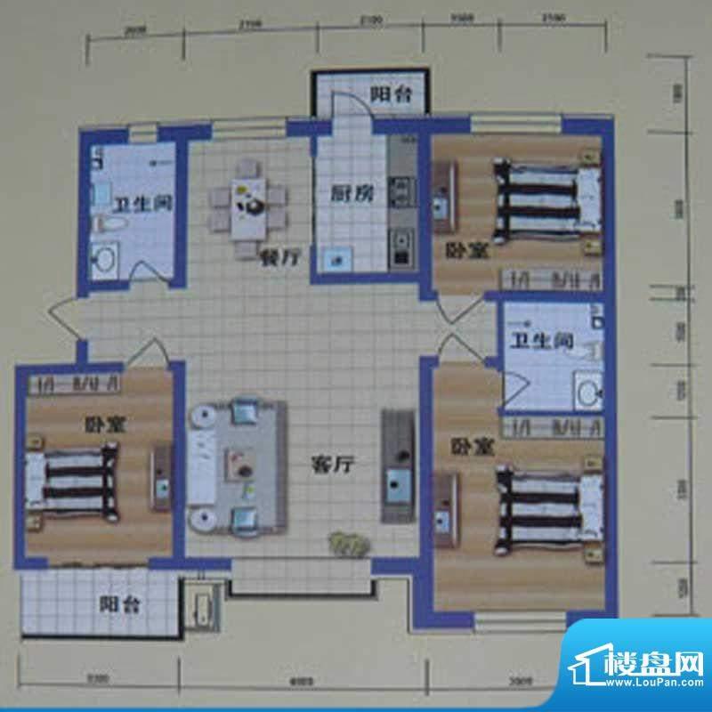 阳光嘉城二期D户型 面积:137.00m平米