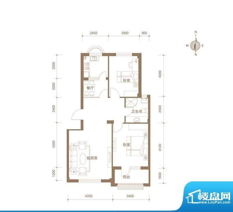 易和岭秀滨城4号楼D面积:84.00平米
