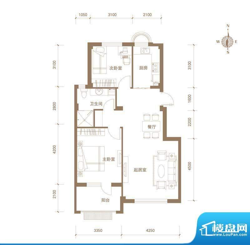 易和岭秀滨城9号楼D面积:86.00平米