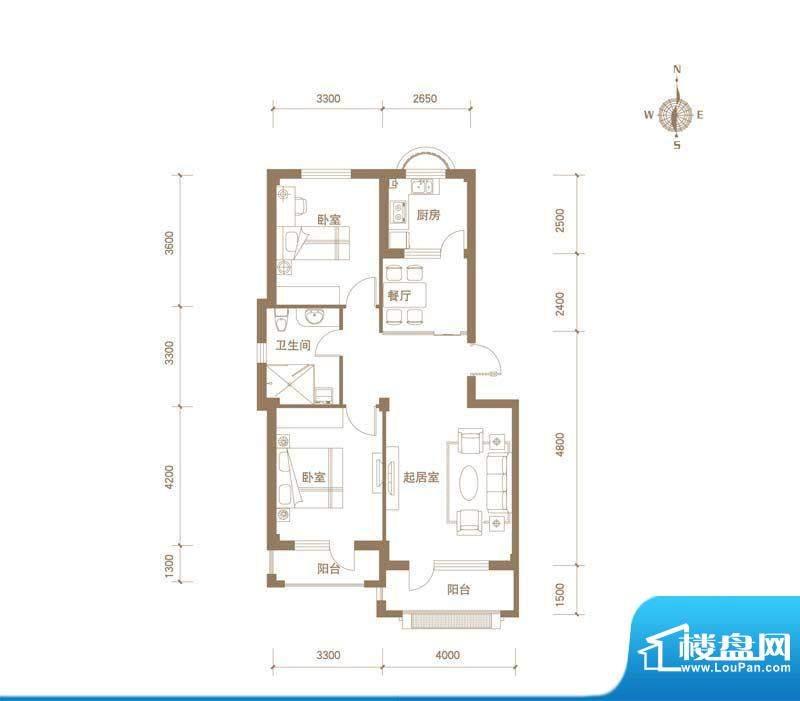易和岭秀滨城1号楼D面积:88.00平米
