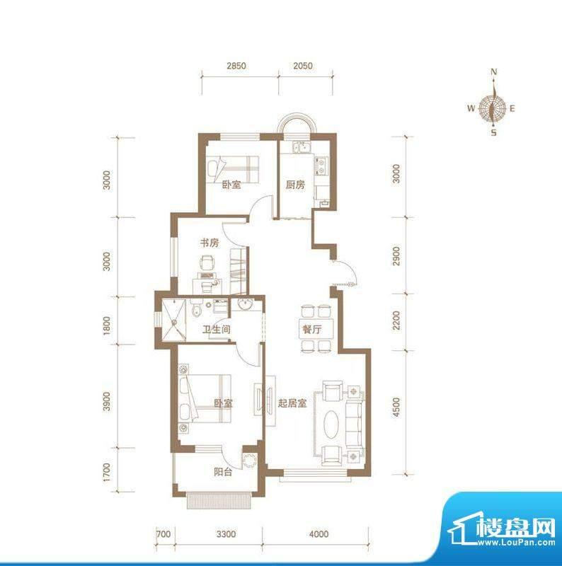 易和岭秀滨城9号楼D面积:91.00平米