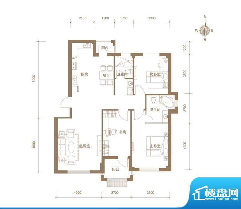 易和岭秀滨城3号楼D面积:124.00平米