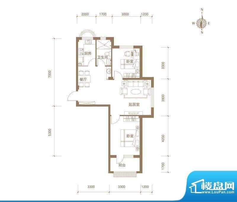 易和岭秀滨城8号楼D面积:85.00平米