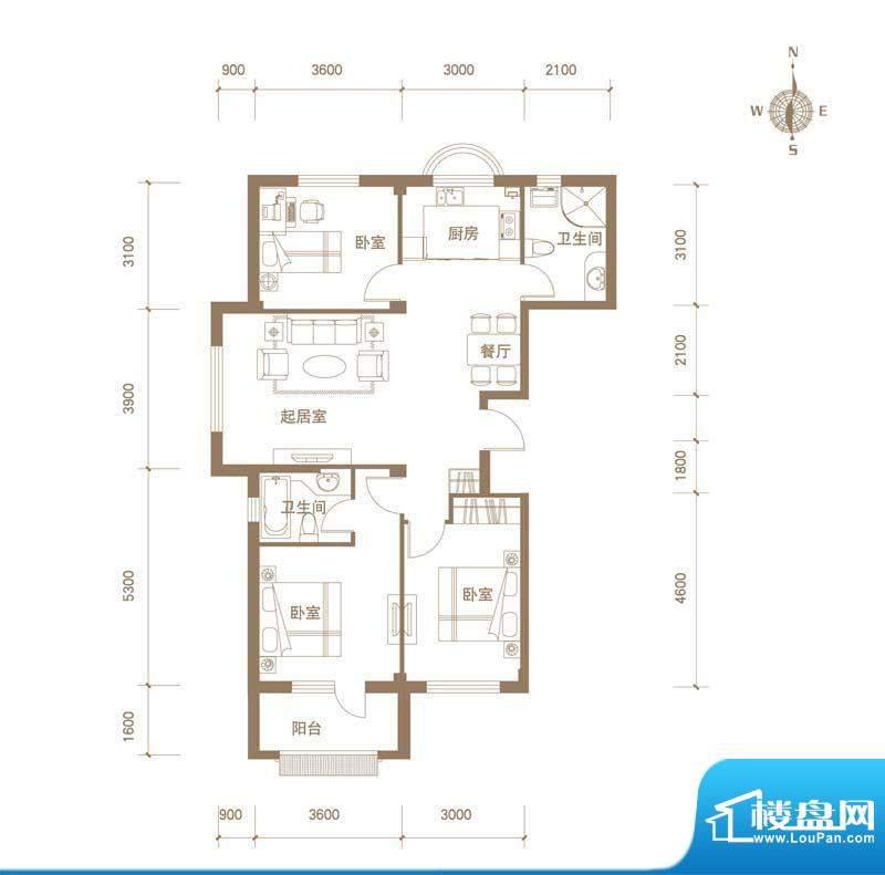 易和岭秀滨城8号楼D面积:91.00平米