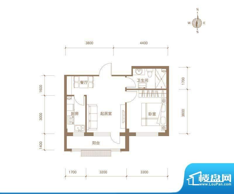 易和岭秀滨城8号楼D面积:52.00平米