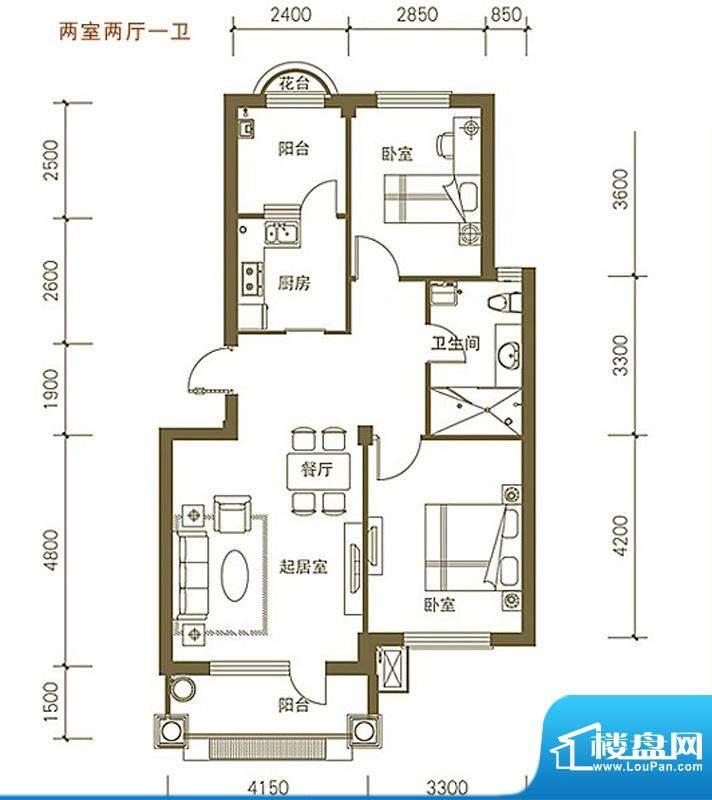 易和岭秀滨城2号、4面积:84.05平米