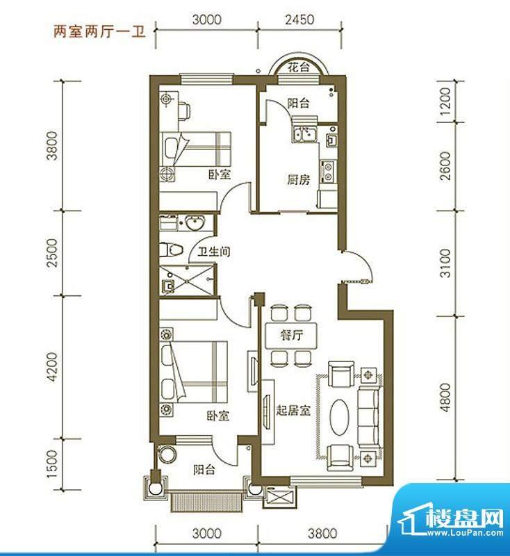 易和岭秀滨城B2号楼面积:76.56平米