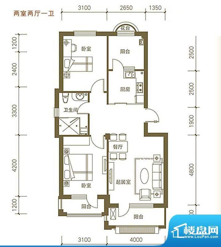 易和岭秀滨城5号、6面积:85.00平米