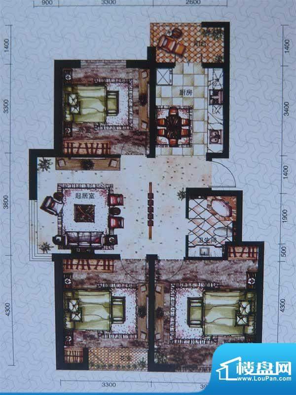 柏林春天多层 3室2厅面积:95.00m平米