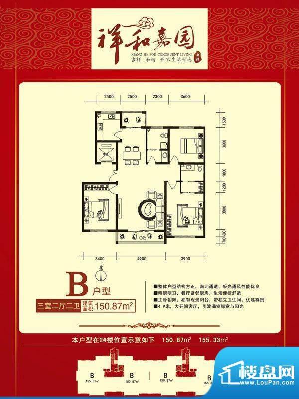 祥和嘉园户型正面B副面积:0.00m平米