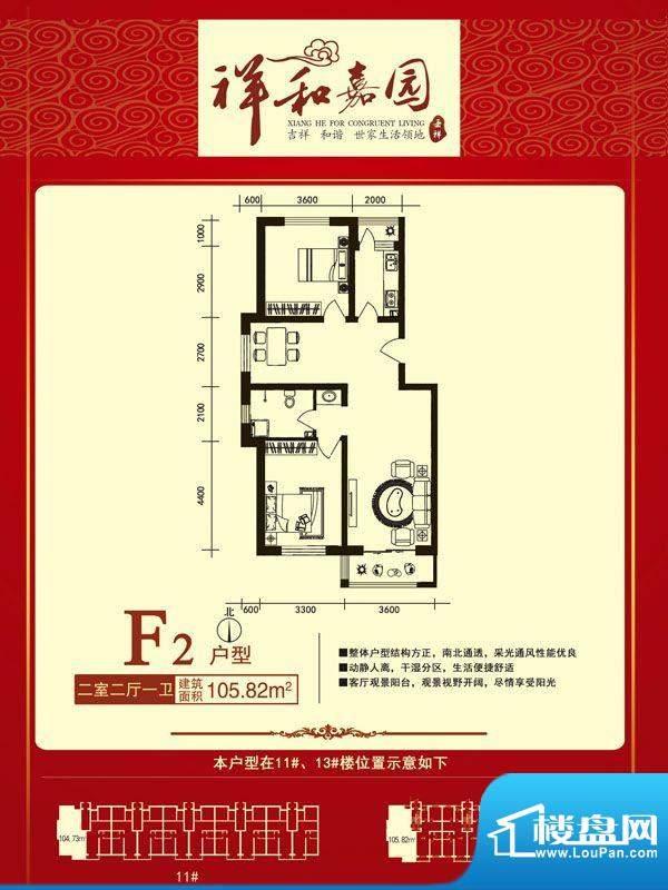 祥和嘉园户型正面F2面积:0.00m平米