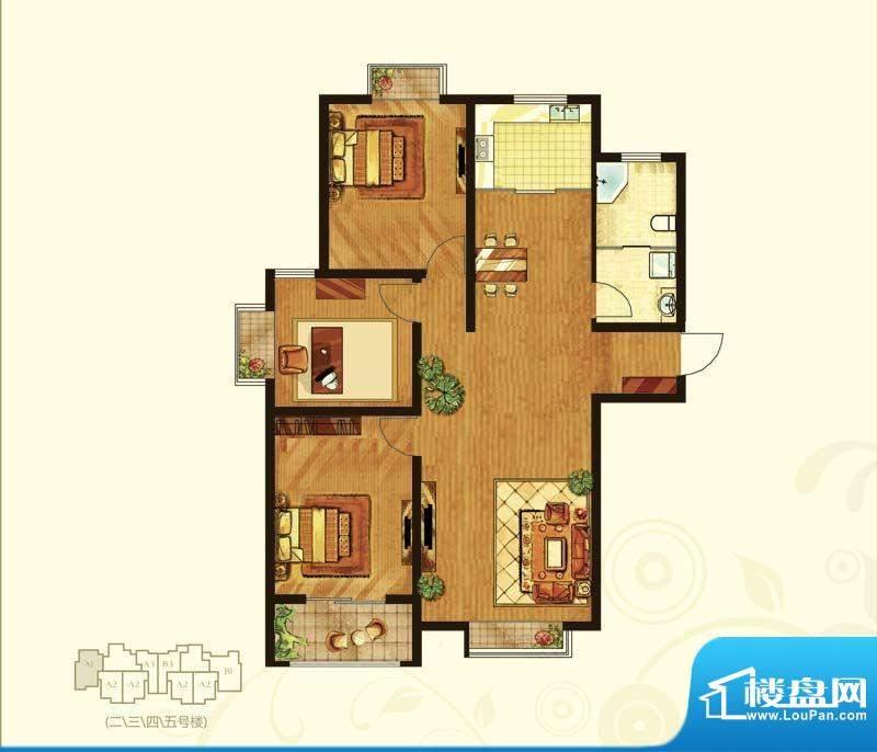 乾城华府2#3#4#5#楼面积:120.56m平米