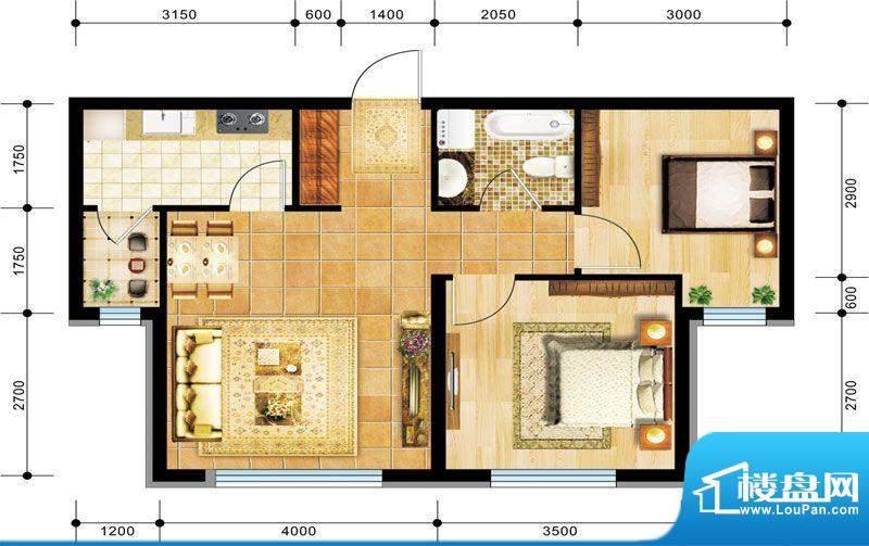 景程B2户型图 2室1厅面积:78.00m平米