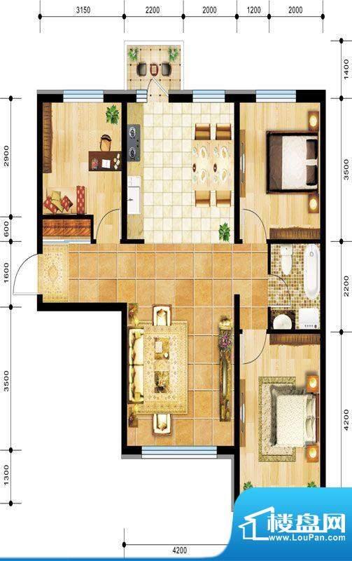 景程B3户型图 3室2厅面积:119.00m平米