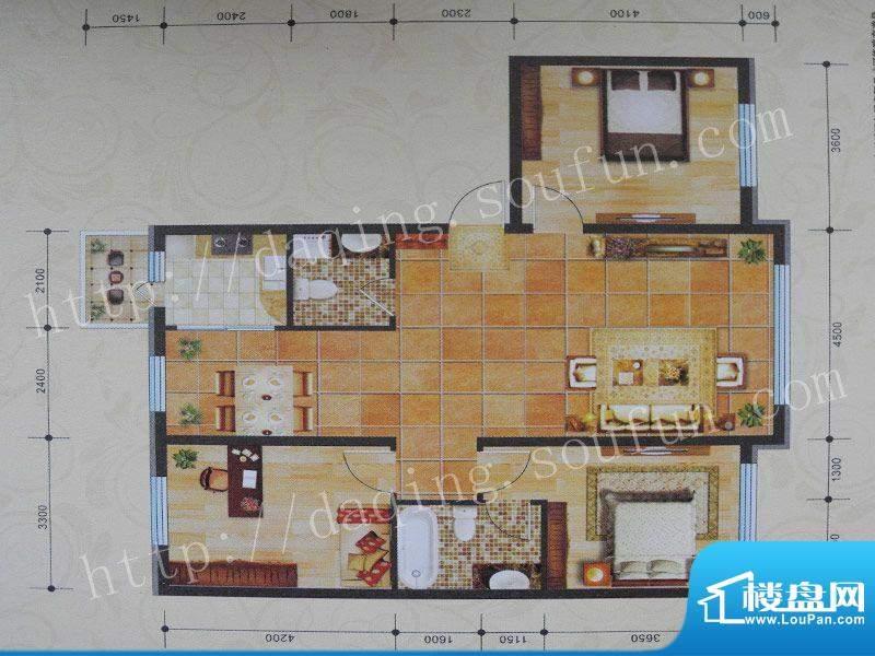 景程C户型 3室2厅2卫面积:138.00m平米